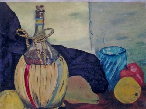 Vintage SIGNED 1960s FJP PAINTING ART Still Life FRUIT JUG WINE Table Setting Pear Apple