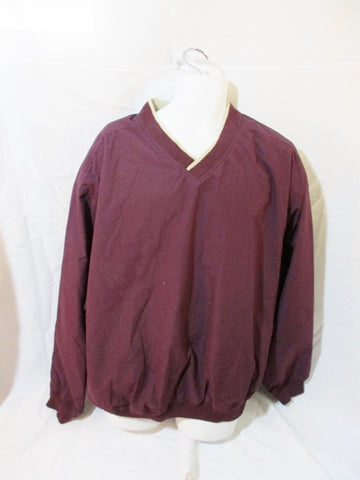 NEW Mens WHITE BEAR CLOTHING CO. V-Neck Wind Golf Shirt XL BURGUNDY RED Pullover