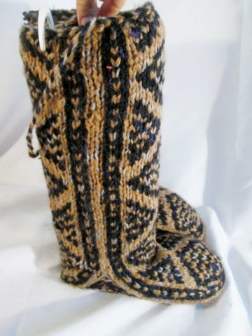 NEW Handmade HIPPIE Knee High Ethnic Slipper Boots Knit BROWN Tribal 6 S