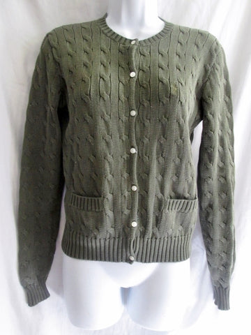 Womens RALPH LAUREN SPORT Cardigan Crewneck Cable Knit Top Sweater M OLIVE GREEN