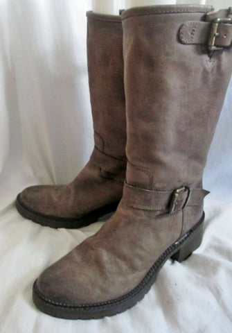Womens FRANCESCO MORICHETTI Leather Riding Moto BOOTS 38 / 7.5 BROWN Rocker