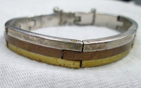 TAXCO MEXICO 925 STERLING SILVER METALES CASTILLO Hinged Bracelet Cuff Gold Copper
