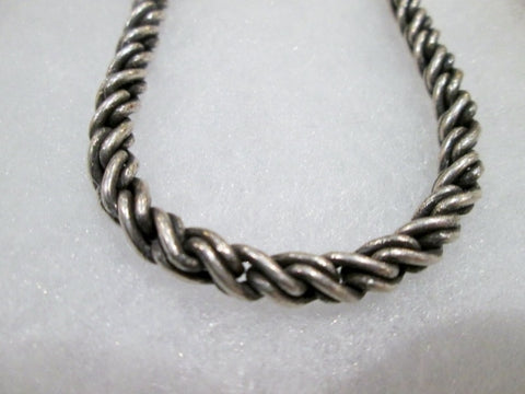 "Mens Womens 16"" SILVER Textured Rope CHAINLINK Metal NECKLACE CHOKER Collar"