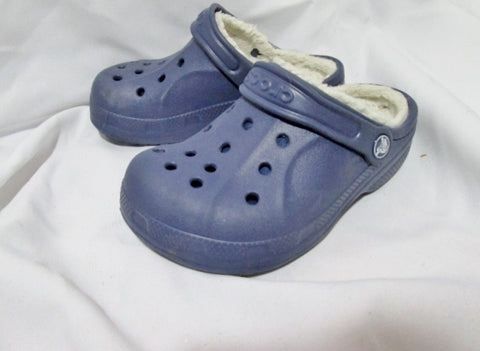 Preschool Toddler Kids Childrens CROCS Slip on Clog Shoe 1 BLUE Lined