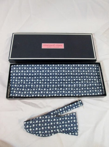 NEW Mens VINEYARD VINES Silk CUMMERBUND Bowtie Set GOLF BLUE Wedding Prom