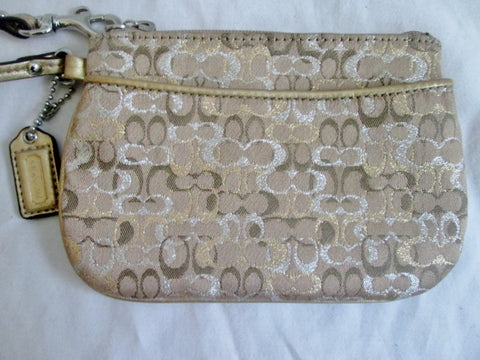 COACH Mini Jacquard Canvas Leather Wristlet Purse Wallet Clutch GOLD