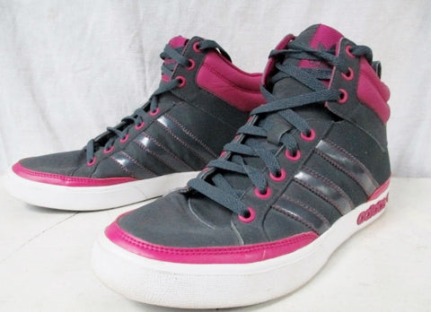 EUC Womens ADIDAS Hi-Top Basketball Sneaker Athletic Shoe Boot 8 GRAY PINK