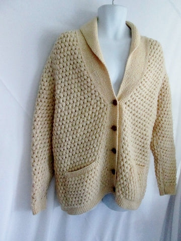 Mens COUNTRY STORE OF CONCORD Sweater Fisherman M CREME Cardigan Knit Ecru