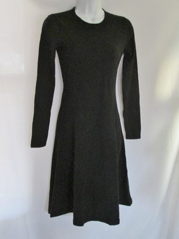 WOMENS RALPH LAUREN 100% Cashmere Clingy Jersey Dress S Black STATEMENT