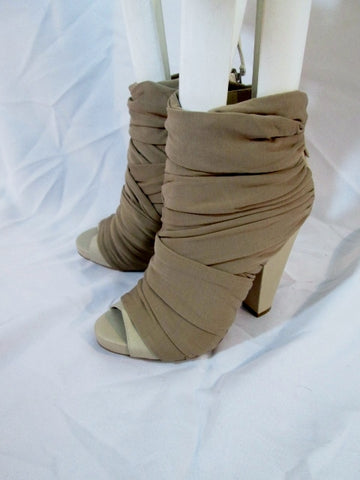 NEW GIVENCHY RUCHED WRAP LEATHER Sandal Shoe BEIGE 37 6.5 Womens PEEP Toe Heel High