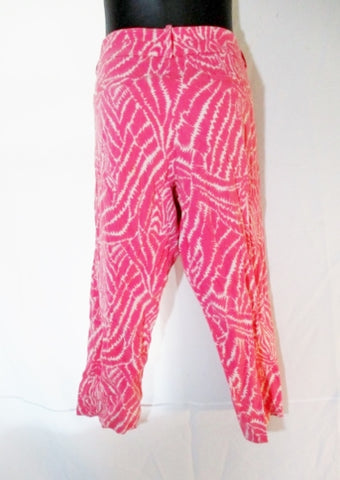 Womens LILLY PULITZER Cotton Cropped Pants Capri 39 x 25 Trousers PINK WHITE