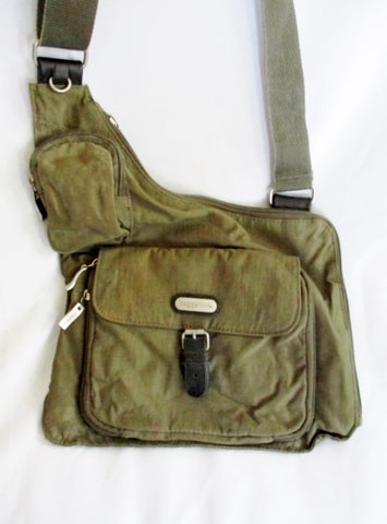 BAGGALLINI Nylon shoulder travel bag man purse crossbody GREEN OLIVE