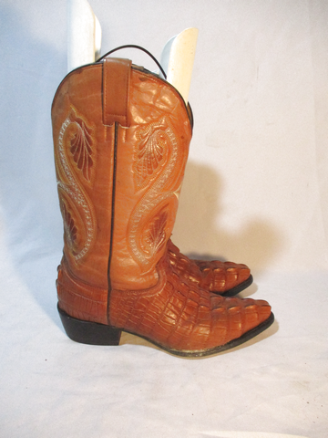 BONANZA Leather Western Cowboy Rocker Riding BOOT 11 BROWN CROC Alligator Rider