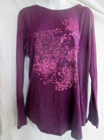 NEW NWT WOMENS EARTH YOGA ORGANIC NOVELTY TEE Top Shirt Purple XXL