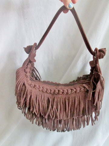 JANA FEIFER Fringe leather indie hobo satchel shoulder bag hobo purse BROWN hippy