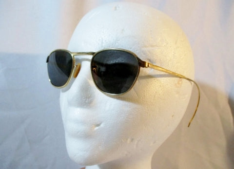 Vintage 12K GF 6 1/4 Pilot Aviator GOLD Filled Sunglasses Wrap Mens Womens