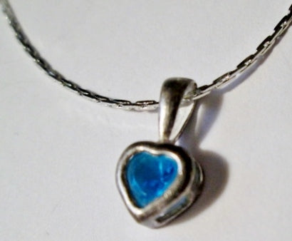 "18"" AQUA BLUE HEART 925 STERLING SILVER Good LUCK CHARM LOVE Pendant NECKLACE CHOKER"