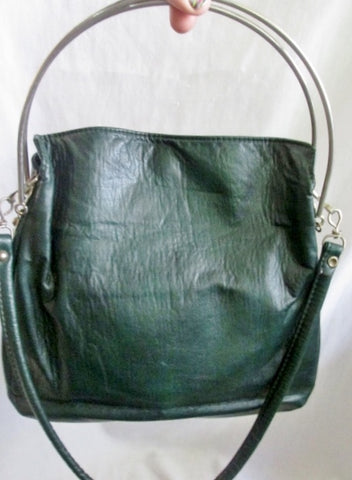 CABRELLI CANADA LEATHER Metal Loop Hoop Handle Purse Shoulder Bag GREEN Satchel