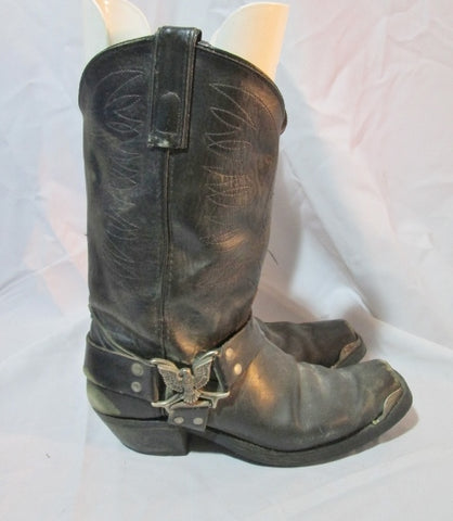 Mens TEXAS USA Square Toe MOTO EAGLE BIRD STUD HARNESS 9.5 Leather Boot Western