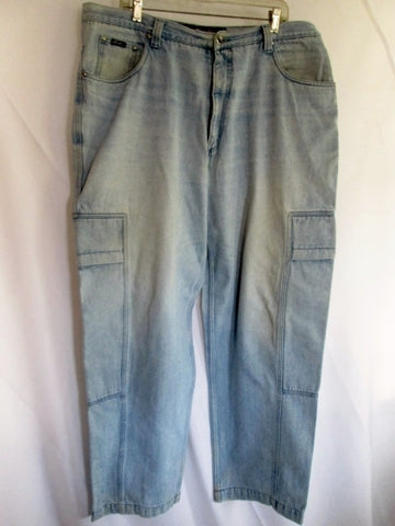 Mens KARL KANI JEANS Denim Dungarees PANTS BLUE 40X34 Hip Hop 1990s Cargo