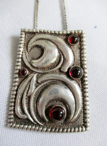 "Signed ""B"" STERLING SILVER RED RUBY Crescent Moon Pendant NECKLACE Shield"