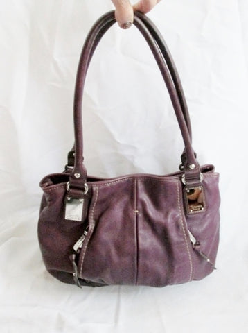 TIGNANELLO Leather Shoulder Bag Saddle HOBO Tote Pockets Purse PURPLE Ruched EGGPLANT