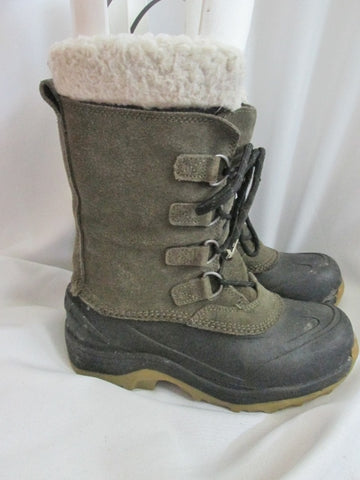 Boys LAND'S END Rubber Suede Lined Duck Boots Shoes Trail Snow BROWN 5 Winter