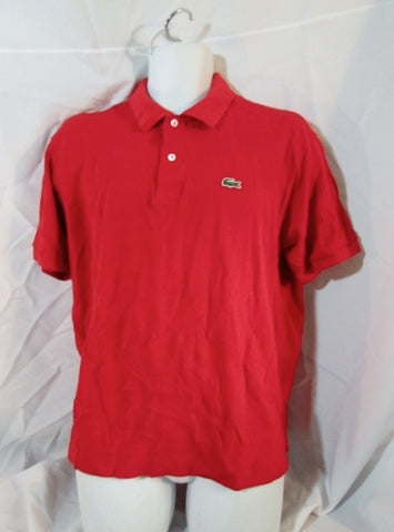 Mens LACOSTE POLO Shirt ALLIGATOR LOGO Preppy Tennis RED 7 / XXL 2XL