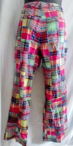 Womens TAILOR NEW YORK Casual Cotton Cropped Pants MADRAS PLAID 8 Preppie