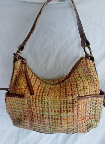 FOSSIL leather woven hobo satchel shoulder crossbody bag BROWN M Key