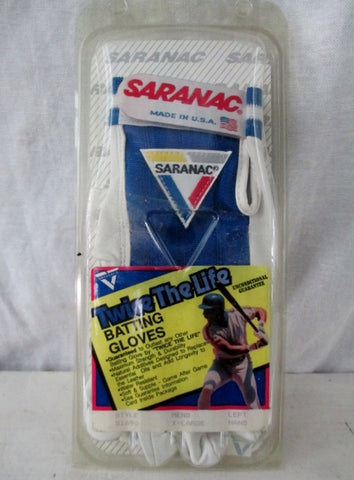 NEW Mens SARANAC Leather TWICE THE LIFE BATTING Glove BLUE XL - Left Hand