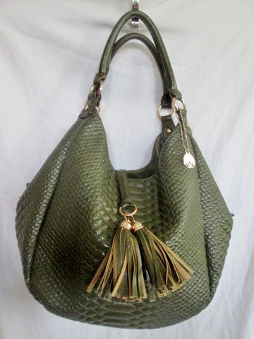 BIG BUDDHA Vegan Shoulder Bag Hobo Handbag Satchel OLIVE GREEN L