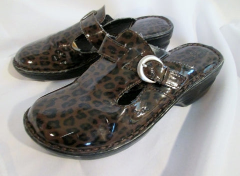 Womens BORN Faux Patent Leather Clog Shoe Slip-On Loafer Comfort BROWN 8 Mule