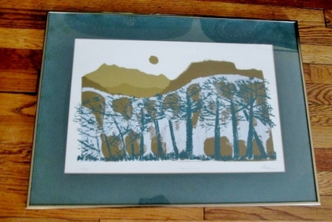 "Signed PALMER ""BERKSHIRES"" Framed Print ART Lithograph Limited Edition Landscape GREEN BROWN WHITE"
