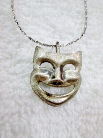 COMEDY MASK THEATER ACTOR SILVER Pendant Necklace Collar Choker Stage Movie