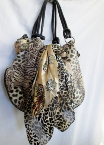 ALDO TIGER Vegan Hobo Bag Satchel Purse LEOPARD JAGUAR CHEETAH Scarf