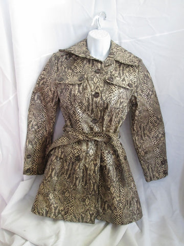 Womens FOX RUN Vegan Faux Python Snakeskin Leather Jacket Trench Coat 9 Vintage