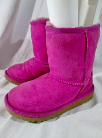Toddler Little Girls UGG 5251T classic short suede boot sheepskin RASPBERRY PINK  11
