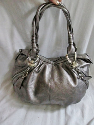 B. MAKOWSKY Pebbled Leather TOTE Hobo Carryall Satchel Shoulder bag SILVER METALLIC