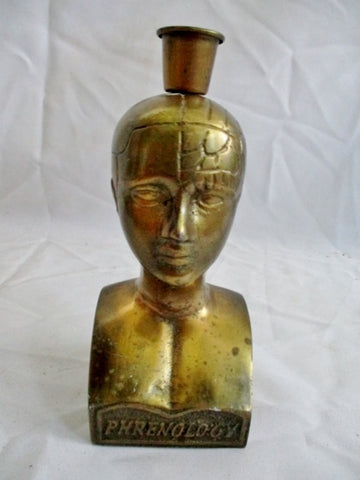 "Vintage 7"" BRASS PHRENOLOGY Head Bust Candelabra Candle Holder Sculpture"