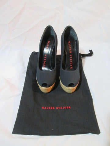 NEW WALTER STEIGER PLATFORM WEDGE Cork Heel Shoe Sandal 36 / 6 BLACK