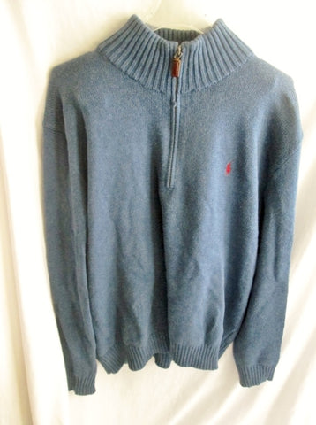 Mens POLO RALPH LAUREN Knit Ski Holiday Wool SWEATER Top Half Zip XL BLUE SLATE