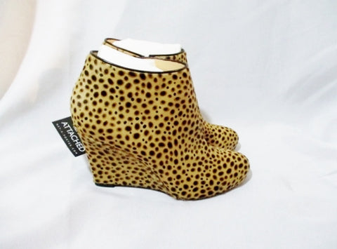 NWT NEW CHRISTIAN LOUBOUTIN LEOPARD Fur WEDGE Shoe  37 6.5 Bootie