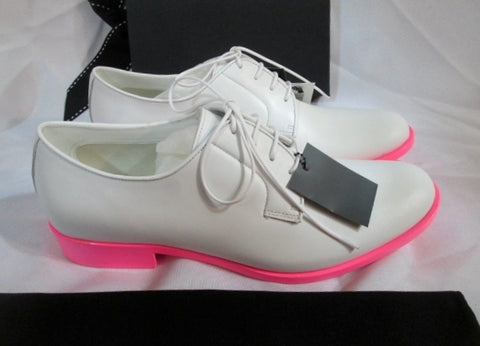 NEW JIL SANDER MEMPHIS BIANCO Shoe Loafer 36 / 6 PINK WHITE Patent Leather Derby