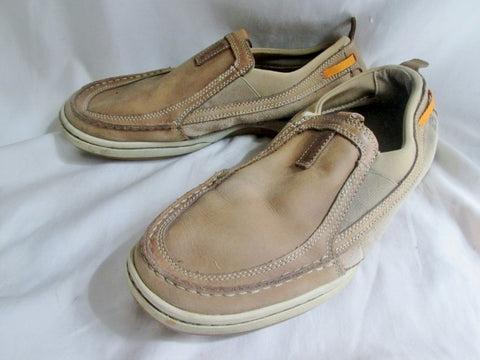 Mens Timberland 74560 Brown Leather Slip On Stitched Toe Loafer  Shoe 10 BEIGE TAUPE