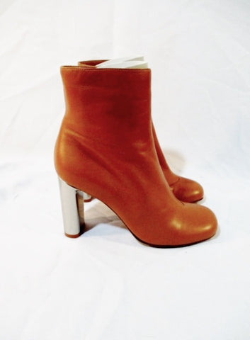 CELINE PARIS Leather High Heel Bootie Ankle Boot 37 6.5 BROWN SILVER Womens