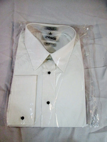 NEW Mens CRISTOFORO CARDI Tuxedo Shirt WHITE 18 - 36/37 SLIM FIT Dress Formal