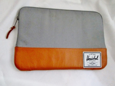 "Herschel 13.5"" Laptop Macbook Sleeve Case Cover Bag GRAY BROWN Sleeve Tablet Case"