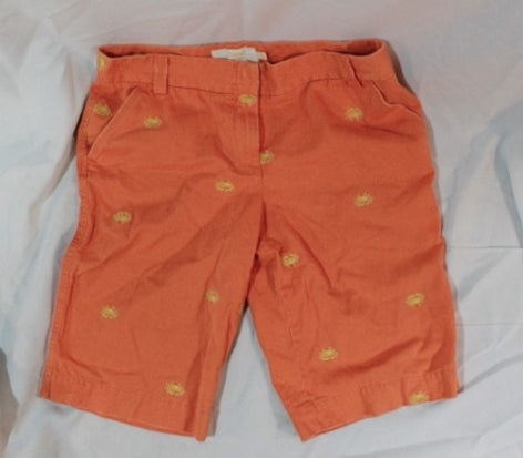 Womens J. CREW Shorts Short Pants 12 Embroidered CRAB ORANGE Nautical