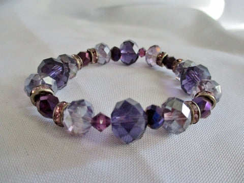 Handmade Beaded Crystal Glass Bracelet Cuff PURPLE Silver Lavender